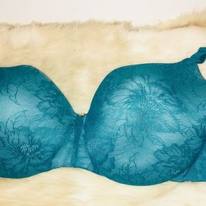 Cacique Intimates & Sleepwear - Cacique Teal Lace Floral underwire Full Cover Bra